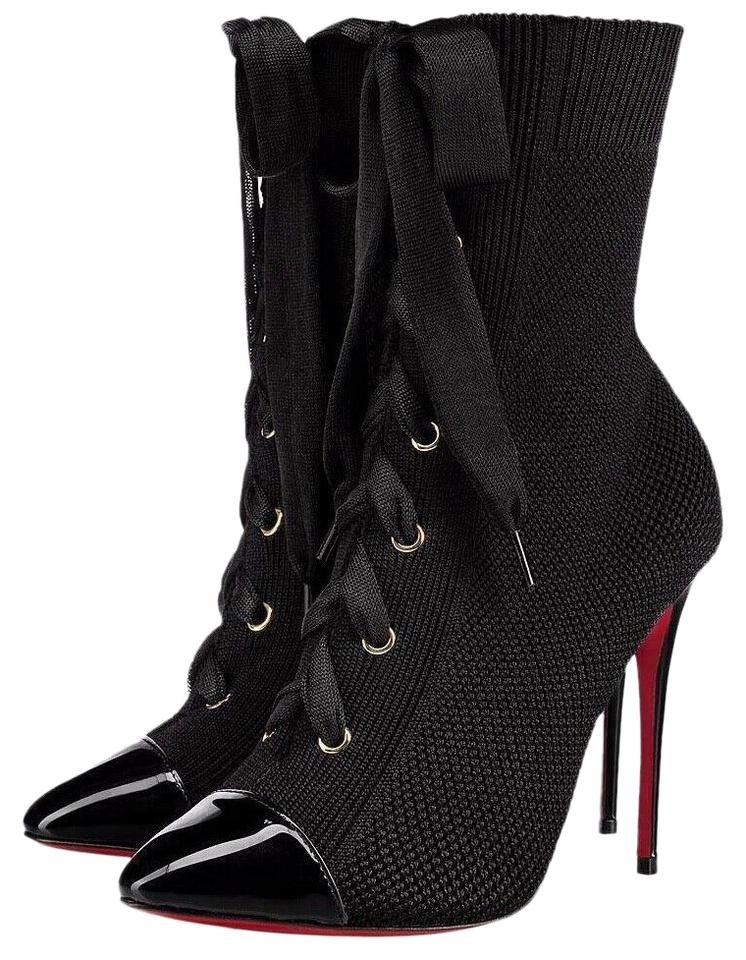 new concept 44573 2e790 Christian Louboutin Black Frenchie 100 Patent Lace Up Tie Heel Stiletto  Ankle Sock Boots/Booties Size EU 37 (Approx. US 7) Regular (M, B)