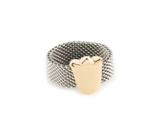 Tous Stainless & 18k Gold Tulip Charm Mesh Flex Band Ring