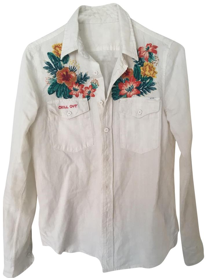 embroidered button down shirt