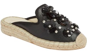 Patricia Green Leather Applique Floral Studded Black, Crystal, Grey Mules