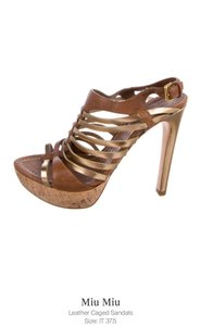 Miu Miu brown - gold Platforms