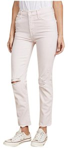 Mother High-waist Straight Leg Distressed Skinny Jeans