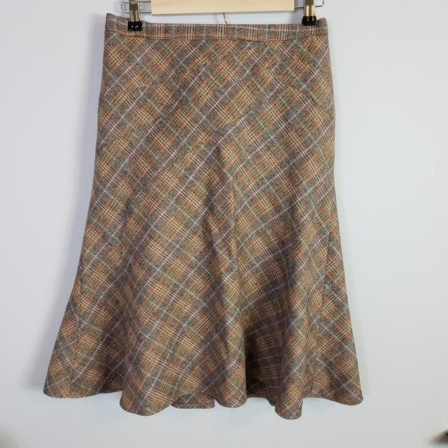 Item - Orange Brown Pink Blue Plaid Wool Flared Skirt Size 8 (M, 29, 30)