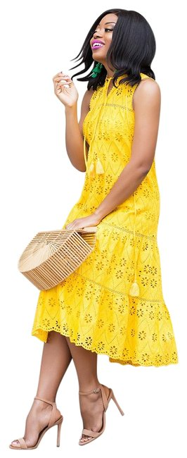 Item - Yellow Eyelet Patio In Small S Mid-length Casual Maxi Dress Size 6 (S)