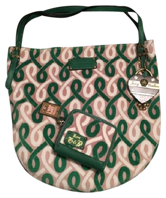 Item - Zip Around Wallet Bff Green Velour & Leather Tote