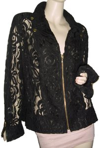 ce1c0f4121d4 Chico's Cardigan Gold Zipper Front Gold Round Buttons See Thru Zipper  Sleeve Cuffs black lace Jacket