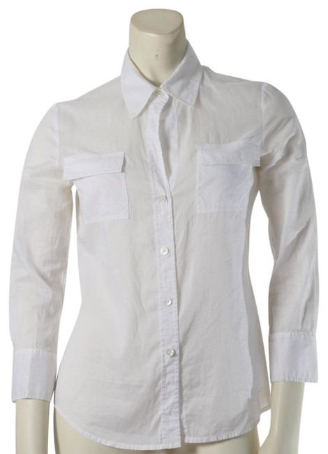 Item - White Cotton 3/4 Sleeve Pockets Shirt Button-down Top Size 6 (S)