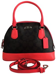 Coach Satchel in Brown/Neon Pink Silvertone Hardware