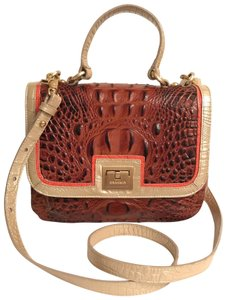 Brahmin Purse Handbag Cross Body Saddle Top Handle Satchel in Brown pink silver - item med img