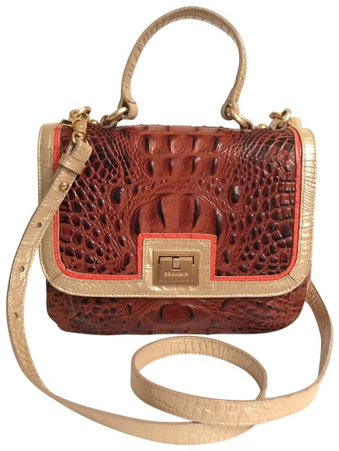 Item - Lola Fizz Tri-color Brown Pink Silver Leather Satchel