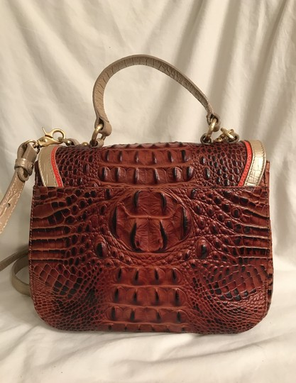 Brahmin Purse Handbag Cross Body Saddle Top Handle Satchel in Brown pink silver Image 3