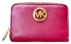 Michael Kors Michael Kors Fulton Coin Case Small Wallet Mulberry Burgundy Pebble