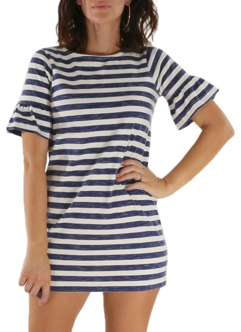 Item - Navy White Striped Ruffled Bell Sleeve Short Casual Dress Size 2 (XS)