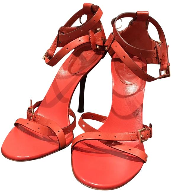 Item - Orange with Silver Buckles Horsebit Box Tone Detail Well Kelp In Bag And Sandals Size US 6.5 Regular (M, B)