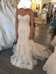 Maggie Sottero Ivory Over Light Gold Beaded Lace Atop Tulle Saige Feminine Wedding Dress Size 6 (S)