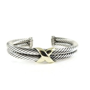 David Yurman David Yurman Sterling Silver 14K Yellow Gold 2-Row X Bracelet