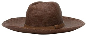 Gucci Nut Brown Straw Wide Brimed Fedora Hat w/leather Trim S 370640 2548