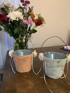 White and Pink Custom Made Set Of 2 Flower Girl Baskets