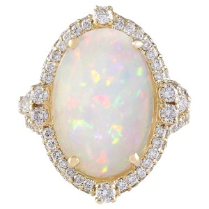 Fashion Strada Multicolor 7.09 Carat Natural Opal 14k Yellow Gold Diamond Ring