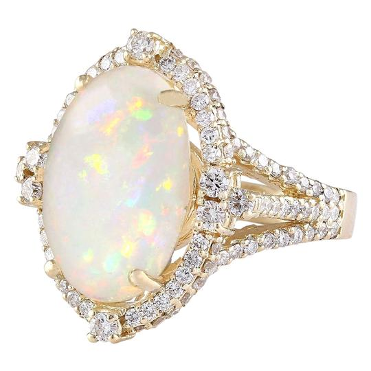 Fashion Strada Multicolor 7.09 Carat Natural Opal 14k Yellow Gold Diamond Ring Image 1
