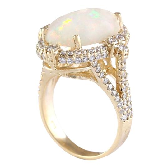Fashion Strada Multicolor 7.09 Carat Natural Opal 14k Yellow Gold Diamond Ring Image 2
