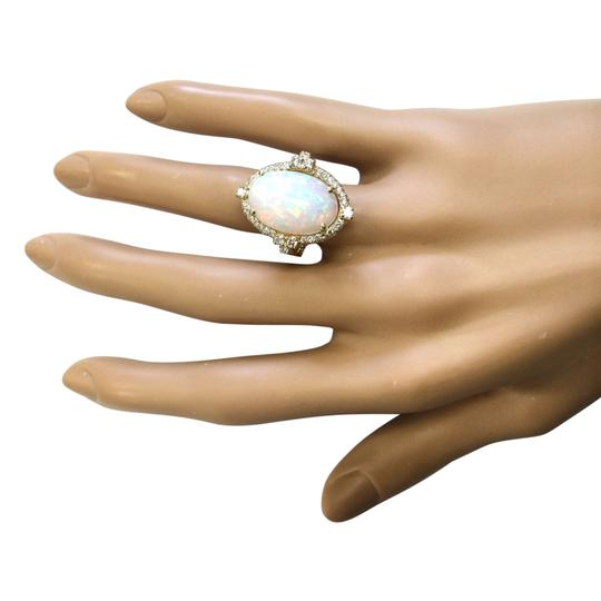Fashion Strada Multicolor 7.09 Carat Natural Opal 14k Yellow Gold Diamond Ring Image 3