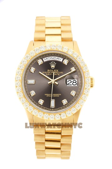 Rolex 3ct 36mm Datejust 18k Gold Presidential with & Appraisal Image 8