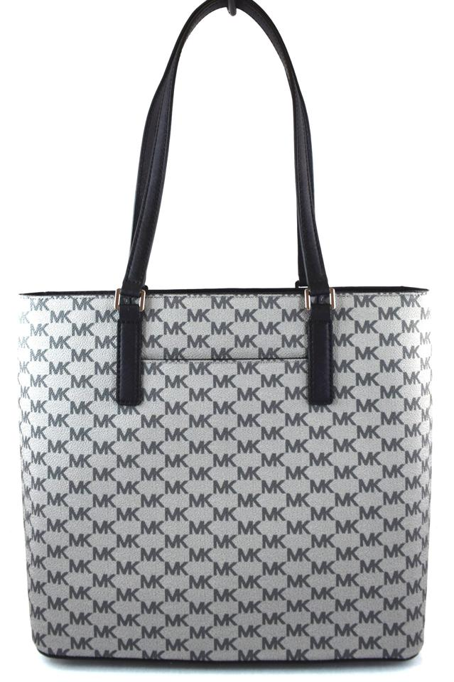 b215a03f1c7d Michael Kors Morgan Center Stripe Medium Pearl Grey Multi Faux Leather Tote  42% off retail