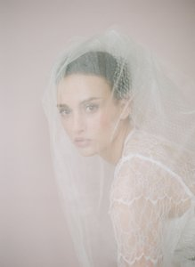 Twigs & Honey Ivory Medium Tulle and Russian Elbow 2-tier 426 Bridal Veil