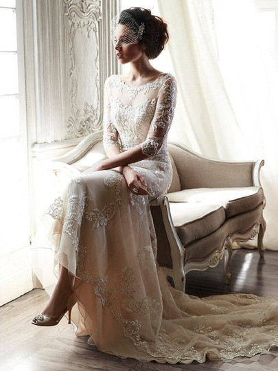 Maggie Sottero Ivory Over Nude Lace Verina Vintage Wedding Dress Size 12 (L) Image 3