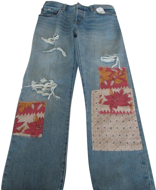 Item - Blue Medium Wash 501 Customized & Tapered Button Fly For Women. Capri/Cropped Jeans Size 34 (12, L)