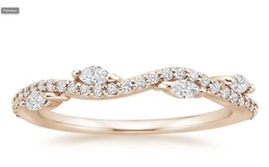 Rose Gold Diamond 14k Ring Conflict Free Women's Wedding Band