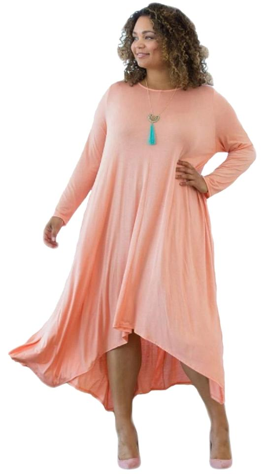 Peach Asymmetrical Drape Pocket Shark Bite Midi Mid-length Casual Maxi  Dress Size 18 (XL, Plus 0x) 21% off retail