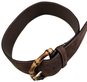 Gucci GUCCI Brown Suede Bamboo Buckle Belt