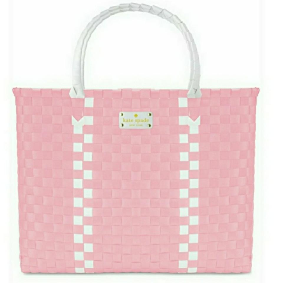 34ac97615 Kate Spade Limited Edition Woven Pink/White Beach Bag - Tradesy