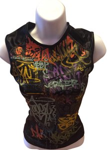 bebe Top black with colored graffiti writing