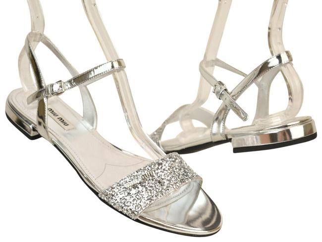Item - Silver Glitter Leather Logo Buckle Ankle Strap Italy Sandals Size EU 35 (Approx. US 5) Regular (M, B)