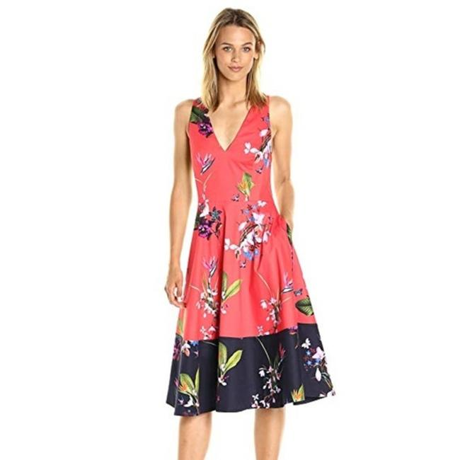 Item - Bright Orange and Navy Esselle Tropical Oasis Sz. Us 1 Mid-length Cocktail Dress Size 4 (S)