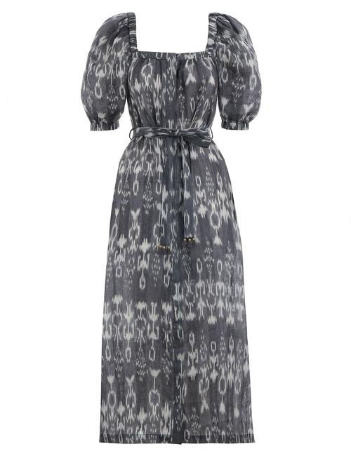 Item - Grey Tali Ikat Square Neck Mid-length Casual Maxi Dress Size 4 (S)