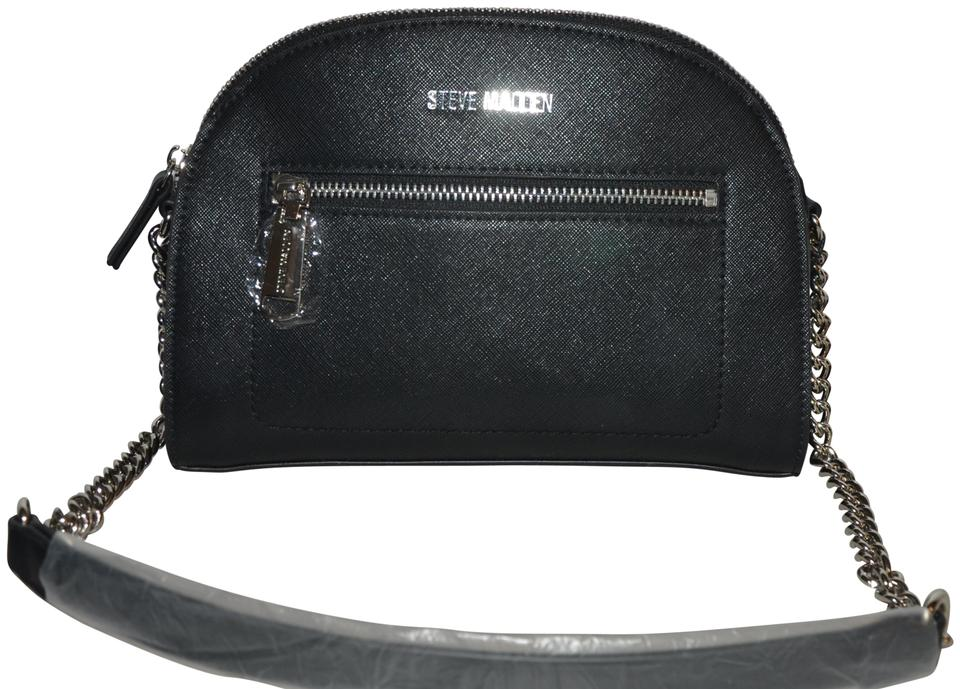 Steve Madden Crossbody Bcher Dome Satchel Black Silver Faux Leather Shoulder Bag