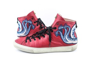 Gucci Red Dragon Web Leather High Top Men Sneakers Shoes