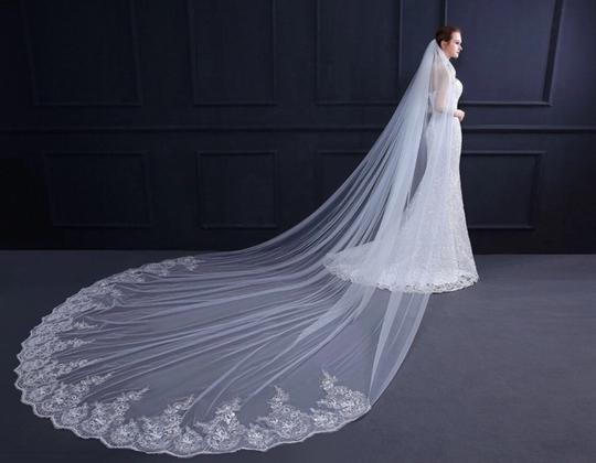 Long White Or Ivory 4m/13 Ft Cathedral with Comb Bridal Veil Image 1