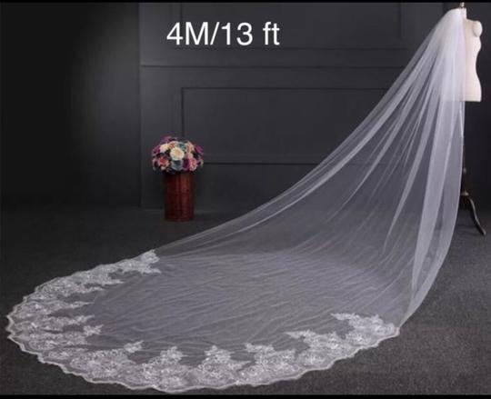 Long White Or Ivory 4m/13 Ft Cathedral with Comb Bridal Veil Image 2