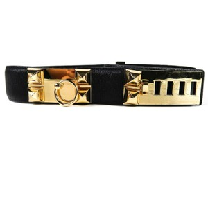 Hermès CDC Wide Black Leather Gold Studs Collier de Chien Size 80