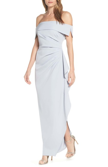 Item - Light Blue Off Shoulder Ruched Crepe Gown Long Formal Dress Size 10 (M)