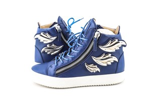 Giuseppe Zanotti Blue Kanye Wing Leather High-top Sneakers Shoes