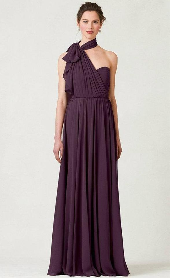 Jenny Yoo Black Currant Mira Chiffon Convertible Gown Long