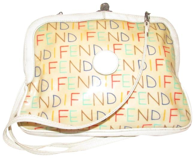 Item - Clutch Limited Edition Two-way with A Removable Strap Or Multi-colored 'fendi' Logo Leather and Coated Canvas Satchel