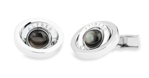 Alfred Dunhill Alfred Dunhill Rhodium-Plated Cufflinks Mother-of-Pearl Gyro Rotating
