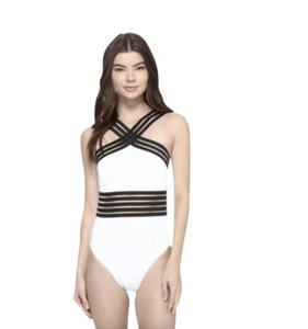 d8e2677daa7 Kenneth Cole NWT KENNETH COLE Stompin' in Stilletos Illusion-striped  Swimsuit M